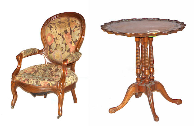 An American Rococo Revival walnut armchair together with a George III style mahogany tea table