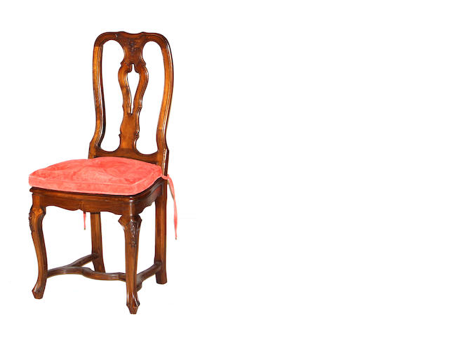 A set of six Italian Rococo style walnut side chairs 20th century