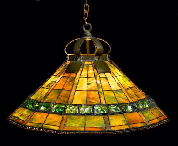 A Tiffany Studios Favrile glass and bronze Turtleback tile chandelier