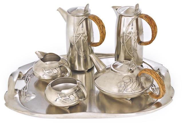 An Archibald Knox for Liberty & Co. six-piece pewter and rattan coffee and tea service circa 1903