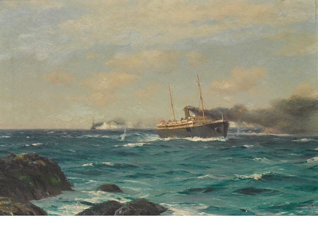 Thomas Jacques Somerscales (British, 1842-1927) The S.S. Ortega entering the straits of Nelson with the S.M.S. Dresden in pursuit 15-1/4 x 22 in. (39.7 x 55.8 cm.)