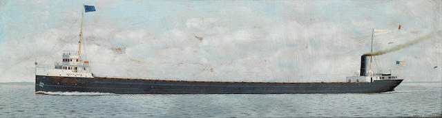 Antonio Nicolo Gasparo  Jacobsen (American, 1850-1921) The S.S. Henry B. Smith at sea 12 x 42 in. (30.4 x 106.6 cm.)