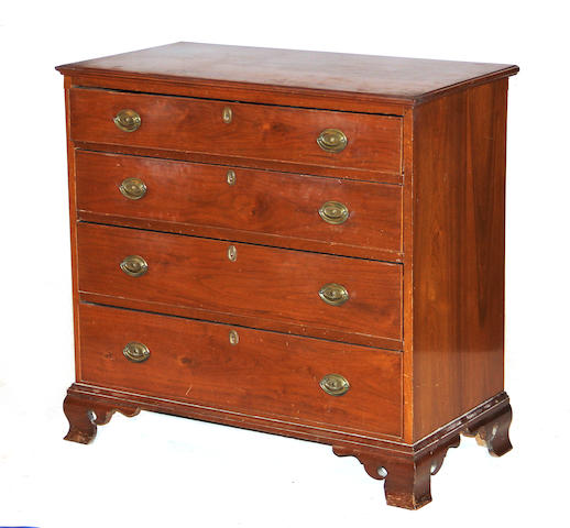 An American Chippendale walnut chest of drawers late 18th/early 19th century