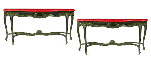 A pair of custom Paul Laszlo green and red painted wood consoles circa 1987