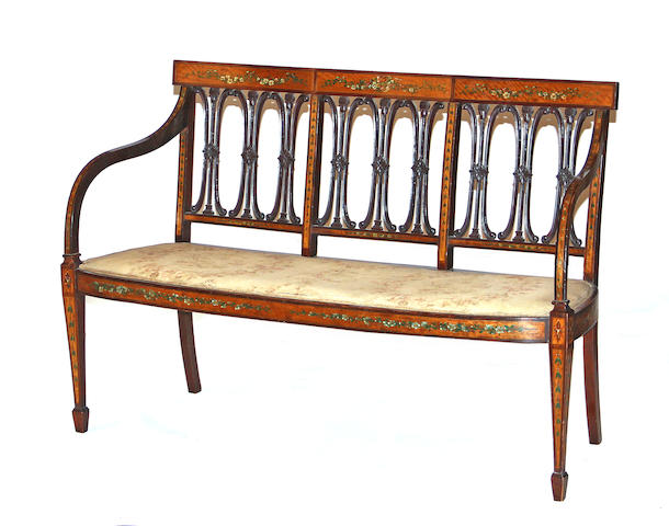 A George III style painted satinwood settee * RESERVE CONFIRMATION BY BROOKE *