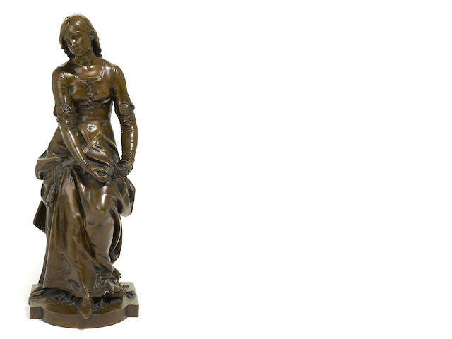 A French patinated bronze figure of a maiden <BR />after a model by Jean Gautherin (French, 1840-1890)<BR />E. Colin & Cie foundry, Paris<BR />late 19th century