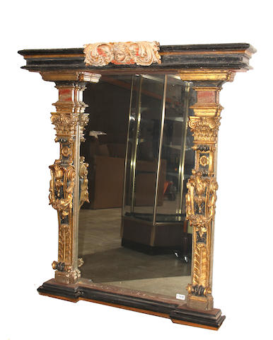 A Continental Renaissance Revival painted and parcel gilt mirror second half 19th century