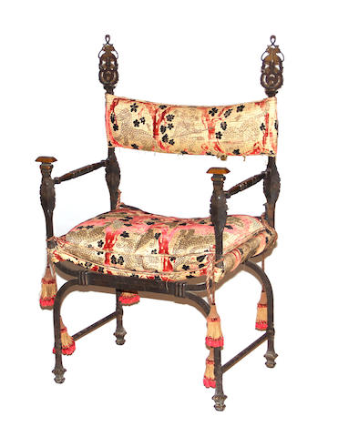 A Baroque style wrought iron and tapestry upholstered armchair late 19th/early 20th century
