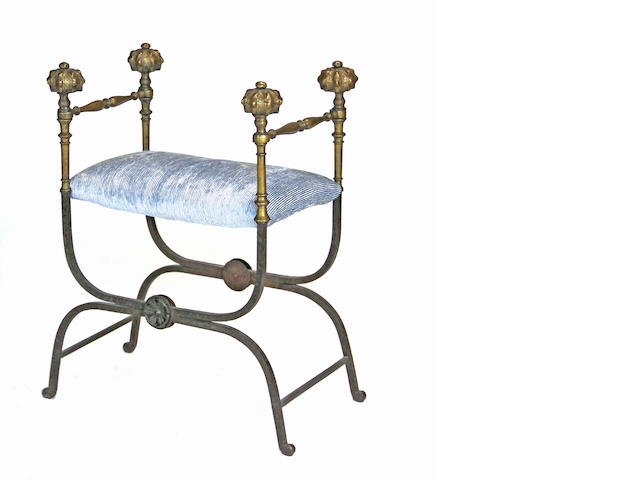 A Baroque style wrought iron and brass stool late 19th/early 20th century
