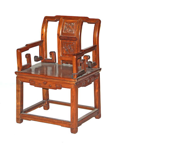 A Chinese rosewood armchair 20th century