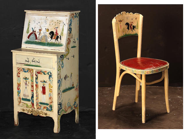 A polychrome decorated child's desk and chair 20th century