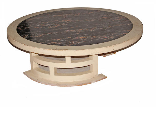 A Continental painted and faux marble coffee table