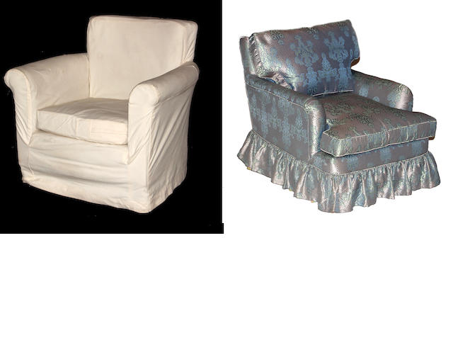 A pair of contemporary silk upholstered club chairs together with a slip covered club chair and headboard