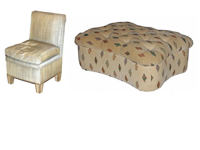 A group contemporary upholstered seating furniture, including a bench, an ottoman, and a slipper chair