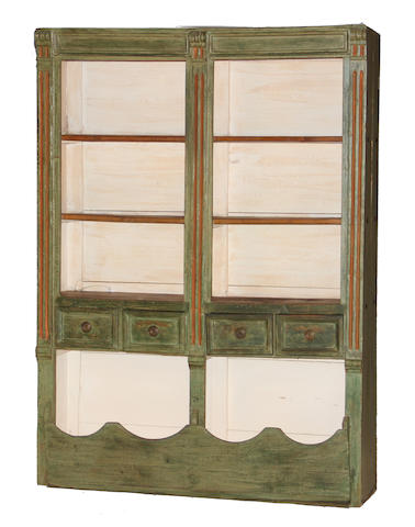A Continental provincial style paint decorated apothecary cabinet