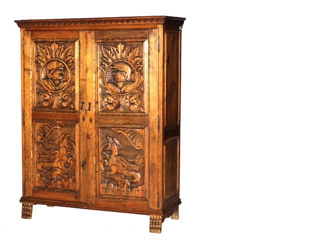 A Spanish Colonial style walnut side cabinet