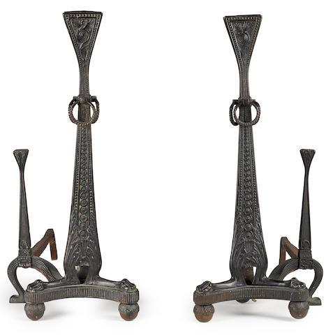 A pair of Tiffany Studios bronze andirons 1898-1918