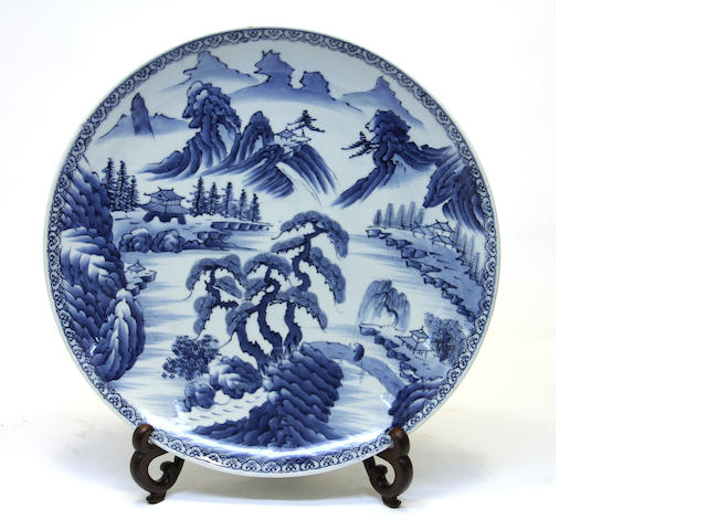 A Japanese blue and white porcelain charger 20th century