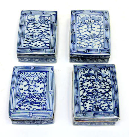 Four Chinese blue and white porcelain rectangular covered boxes 19th century