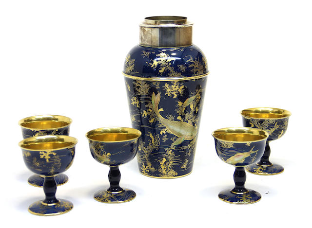 A Carlton Ware earthenware silver plate mounted cocktail set retailed by Dunhill, London<BR />circa 1925