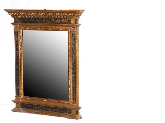 A Neoclassical style giltwood and painted mirror together with a George III style mahogany mirror late 19th/early 20th century