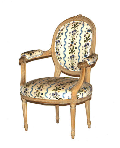 A Louis XVI style fauteuil late 19th century