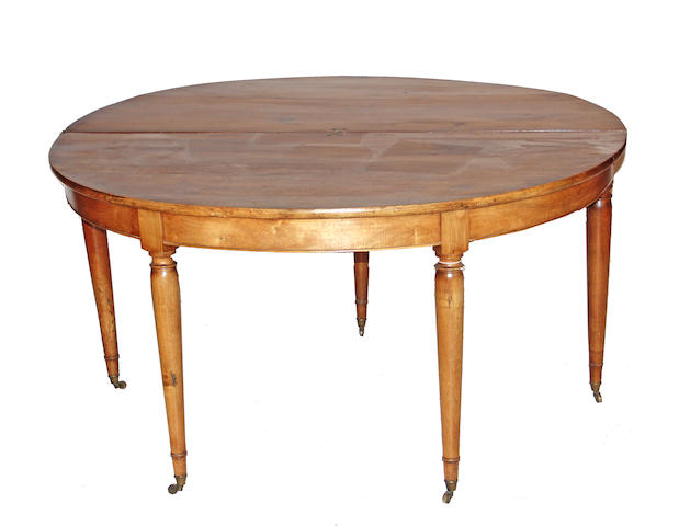 A Continental hardwood demilune games table first quarter 19th century