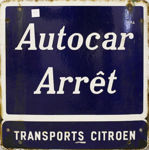 A single-sided porcelain 'Autocar Arret Trasports Citroen' sign,