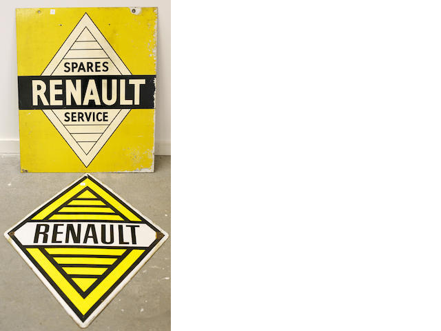 A pair of Renault signs,