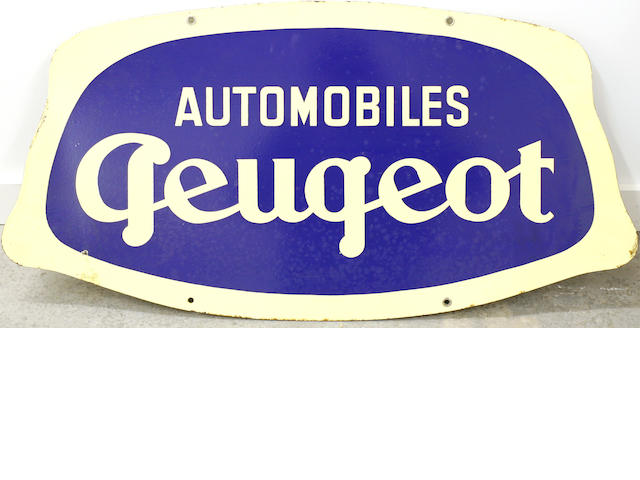 A double-sided porcelain Peugeot sign,