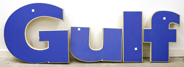 A set of exterior Gulf gasoline letters,