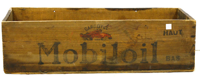 A Mobileoil gargoyle branded shipping crate,