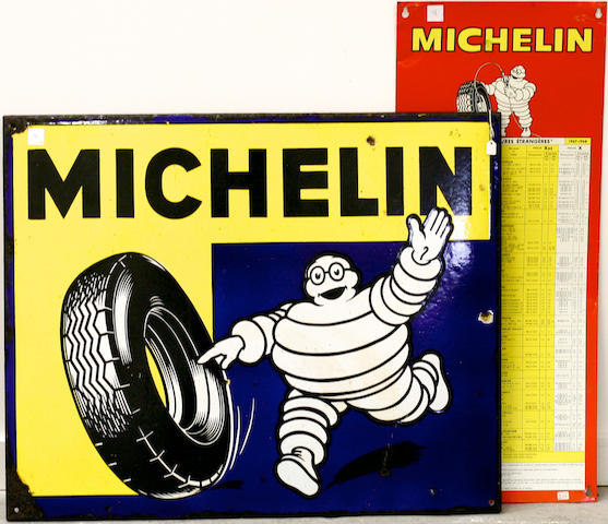 A vintage single-sided porcelain Michelin tire sign,