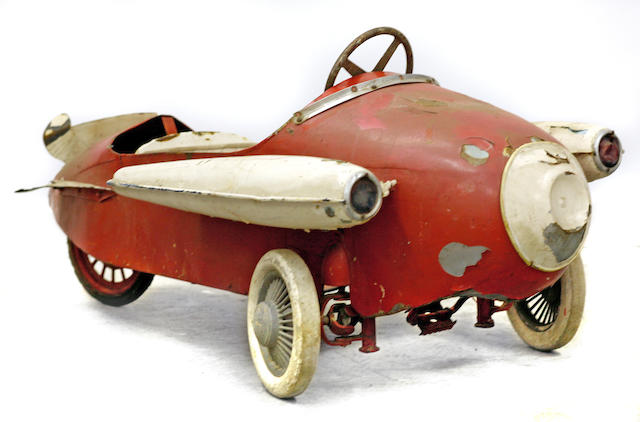 A vintage child's rocket pedal car, c.1930s,