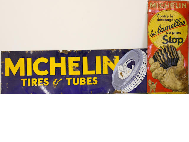 A pair of vintage Michelin tires signs,