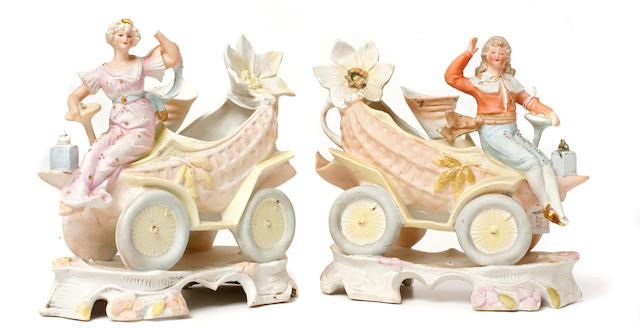 A set of early motoring flower vases, German, c.1898,