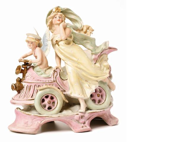 An Art Nouveau Cherub and Goddess of Victory ceramic, Germany, c.1897,