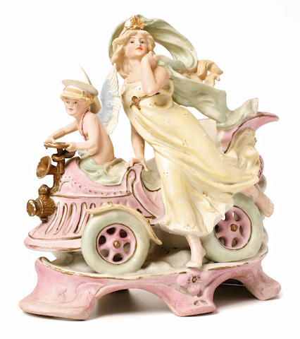 An Art Nouveau Cherub and Goddess of Victory ceramic, Germany, c.1897,