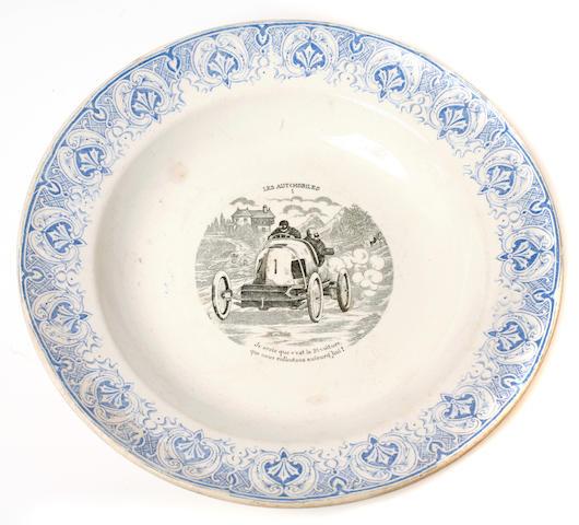 A Mors racing car commemorative China bowl,