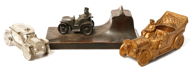 A collection of Victorian motoring desk items,
