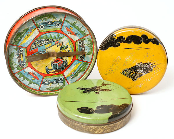 A grouping of decorative tins,