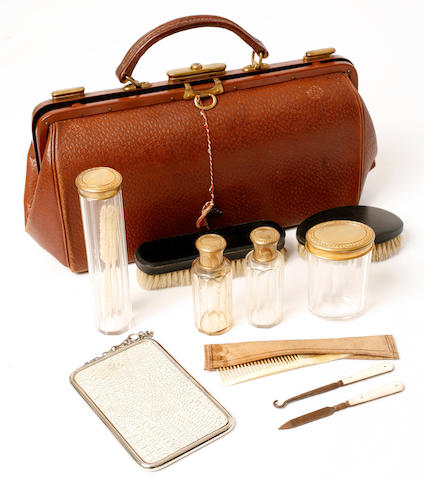 An antique men's dressing kit,
