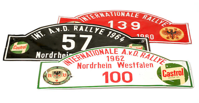 A lot of 1960s era A.V.D. rallye plates.