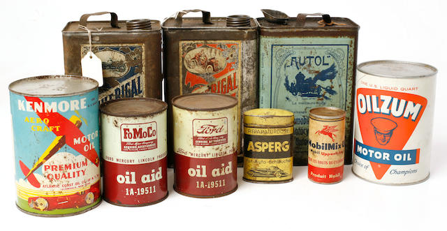 An assembled lot of vintage motor oil cans,