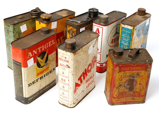 A collection of collectible motor oil tins,