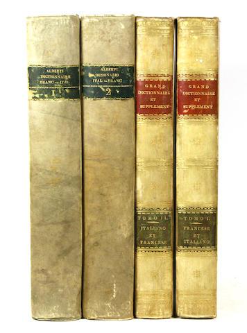 ALBERTI DI VILLANOVA, FRANCESCO D'.  Grand dictionnaire Francois-Italien, compose sure les dictionnaires de l'Accademie de France et de la Crusca. Bassano: I. Remondini, 1811.