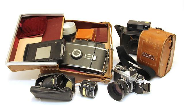 An assembled group of camera equipment