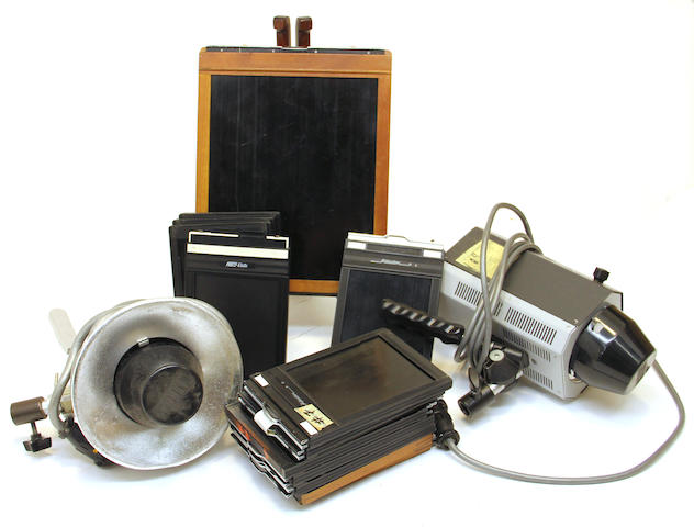 An assembled group of camera equipment
