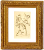 Two prints of human skeletons in gilt frames