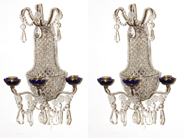 A pair of Neoclassical style beaded glass three light appliques mid 20th century